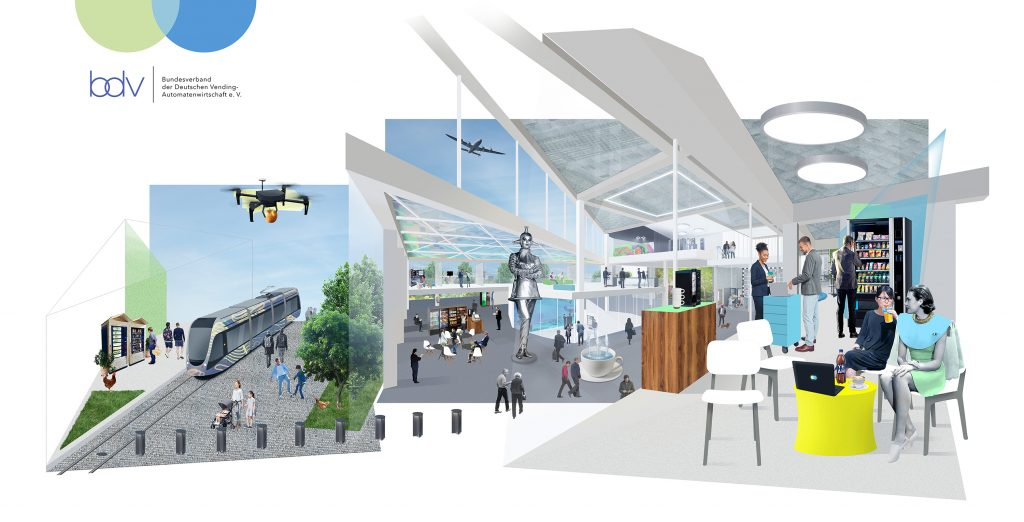 Artist impression of vending machines in Germany at a variety of transport links - train station, bus station, airport